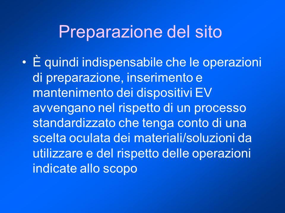 È quindi indispensabile che le operazioni di preparazione, inserimento e mantenimento dei dispositivi EV avvengano nel rispetto di un processo standardizzato che tenga conto di una scelta oculata dei materiali/soluzioni da utilizzare e del rispetto delle operazioni indicate allo scopo Preparazione del sito