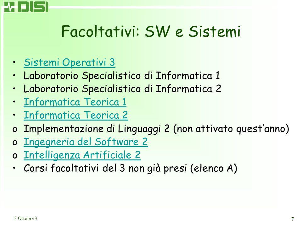 2 Ottobre 3 7 Facoltativi: SW e Sistemi Sistemi Operativi 3 Laboratorio Specialistico di Informatica 1 Laboratorio Specialistico di Informatica 2 Informatica Teorica 1 Informatica Teorica 2 oImplementazione di Linguaggi 2 (non attivato quest'anno) oIngegneria del Software 2Ingegneria del Software 2 oIntelligenza Artificiale 2Intelligenza Artificiale 2 Corsi facoltativi del 3 non già presi (elenco A)