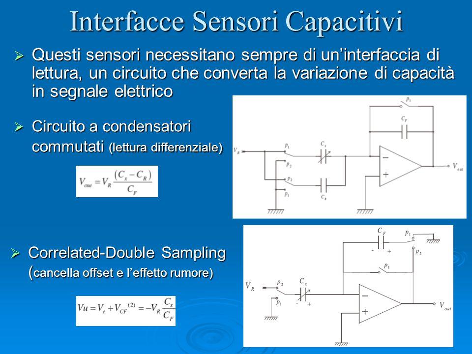 Interfacce Sensori Capacitivi  Questi sensori necessitano sempre di un'interfaccia di lettura, un circuito che converta la variazione di capacità in segnale elettrico  Circuito a condensatori commutati (lettura differenziale)  Correlated-Double Sampling ( cancella offset e l'effetto rumore)
