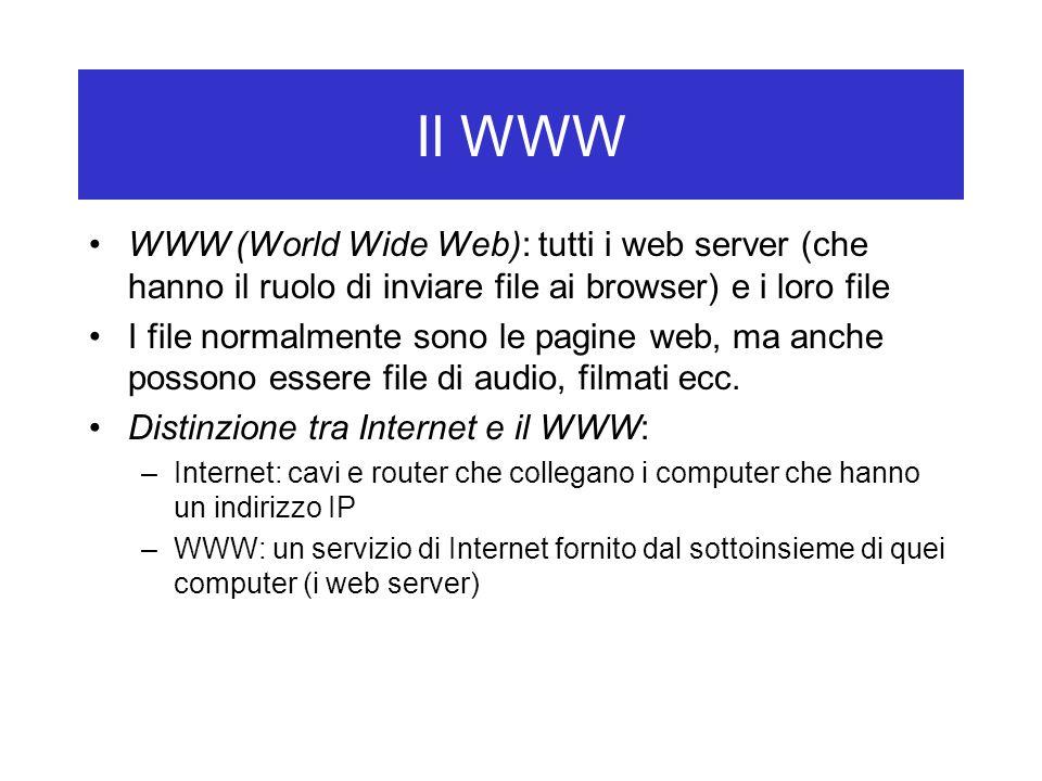 Il WWW WWW (World Wide Web): tutti i web server (che hanno il ruolo di inviare file ai browser) e i loro file I file normalmente sono le pagine web, ma anche possono essere file di audio, filmati ecc.