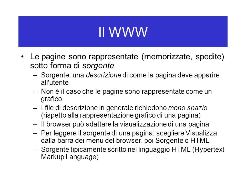 Il WWW Le pagine sono rappresentate (memorizzate, spedite) sotto forma di sorgente –Sorgente: una descrizione di come la pagina deve apparire all utente –Non è il caso che le pagine sono rappresentate come un grafico –I file di descrizione in generale richiedono meno spazio (rispetto alla rappresentazione grafico di una pagina) –Il browser può adattare la visualizzazione di una pagina –Per leggere il sorgente di una pagina: scegliere Visualizza dalla barra dei menu del browser, poi Sorgente o HTML –Sorgente tipicamente scritto nel linguaggio HTML (Hypertext Markup Language)