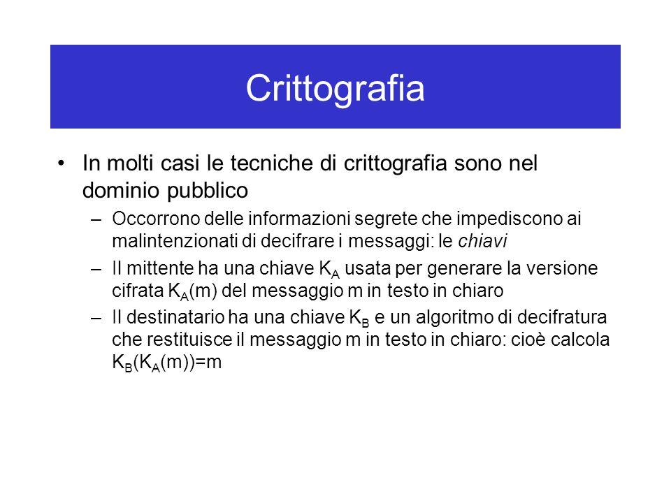 Crittografia In molti casi le tecniche di crittografia sono nel dominio pubblico –Occorrono delle informazioni segrete che impediscono ai malintenzionati di decifrare i messaggi: le chiavi –Il mittente ha una chiave K A usata per generare la versione cifrata K A (m) del messaggio m in testo in chiaro –Il destinatario ha una chiave K B e un algoritmo di decifratura che restituisce il messaggio m in testo in chiaro: cioè calcola K B (K A (m))=m