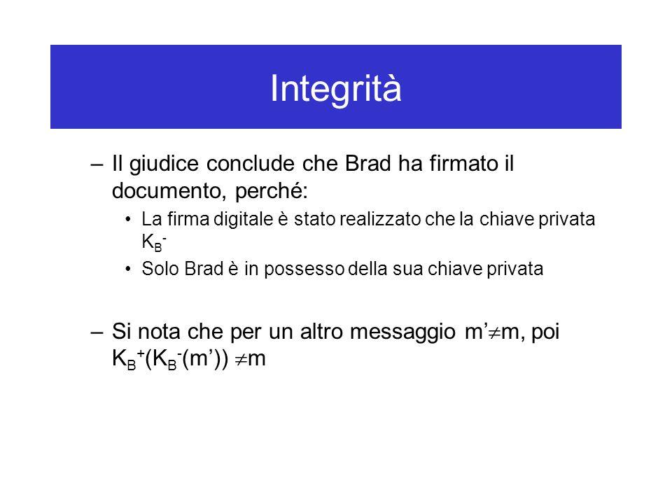 Integrità –Il giudice conclude che Brad ha firmato il documento, perché: La firma digitale è stato realizzato che la chiave privata K B - Solo Brad è in possesso della sua chiave privata –Si nota che per un altro messaggio m'  m, poi K B + (K B - (m'))  m
