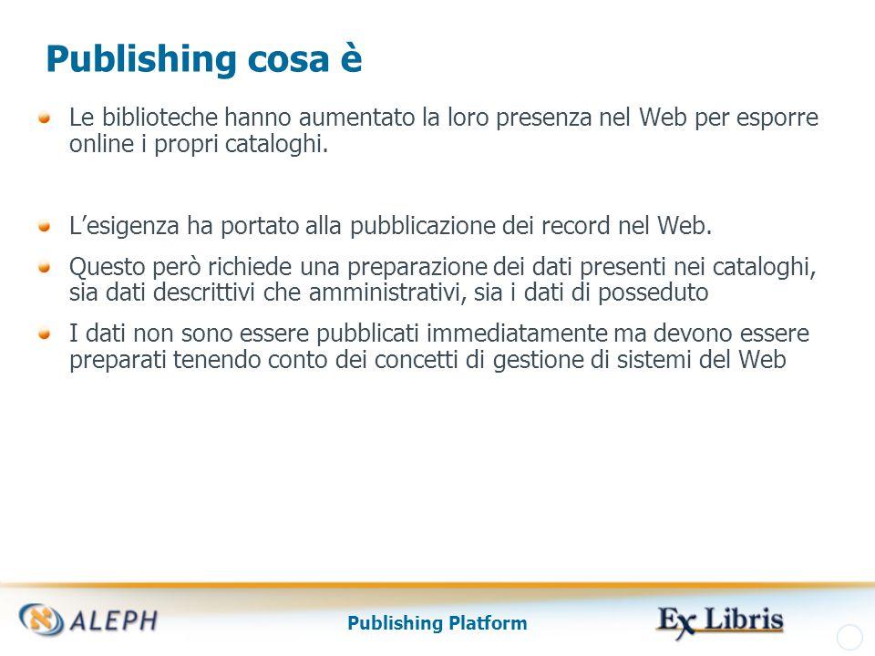 Publishing Platform Publishing cosa è Le biblioteche hanno aumentato la loro presenza nel Web per esporre online i propri cataloghi.