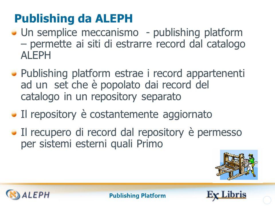 Publishing Platform Esportazione dei dati Pubblicati I record nel repository pronti per l'esportazione e i set popolati possono essere trasferiti ad altre applicazioni L'Export può essere fatto in diversi modi: file tar protocollo OAI indicizzazione in Google