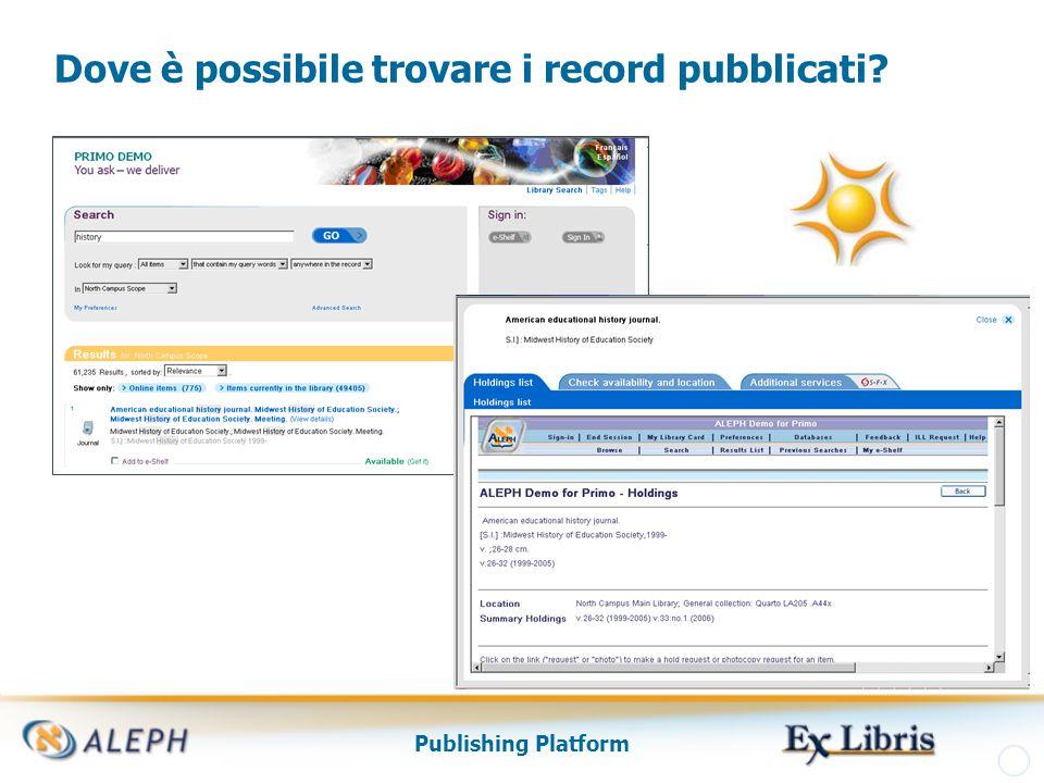 Publishing Platform Dove è possibile trovare i record pubblicati