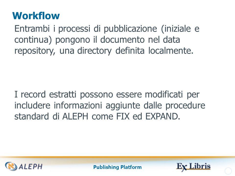 Publishing Platform Processo Estrazione Iniziale Il processo di estrazione iniziale è attivato attraverso la procedura Processo di Pubblicazione Iniziale (publish-04).