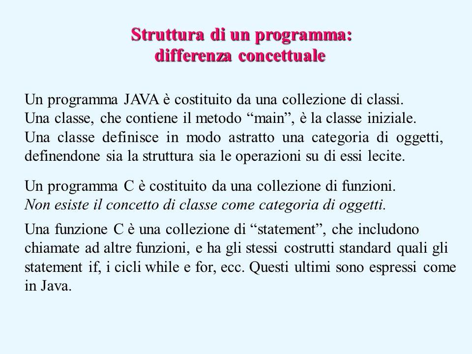 """Struttura di un programma: differenza concettuale Un programma JAVA è costituito da una collezione di classi. Una classe, che contiene il metodo """"main"""