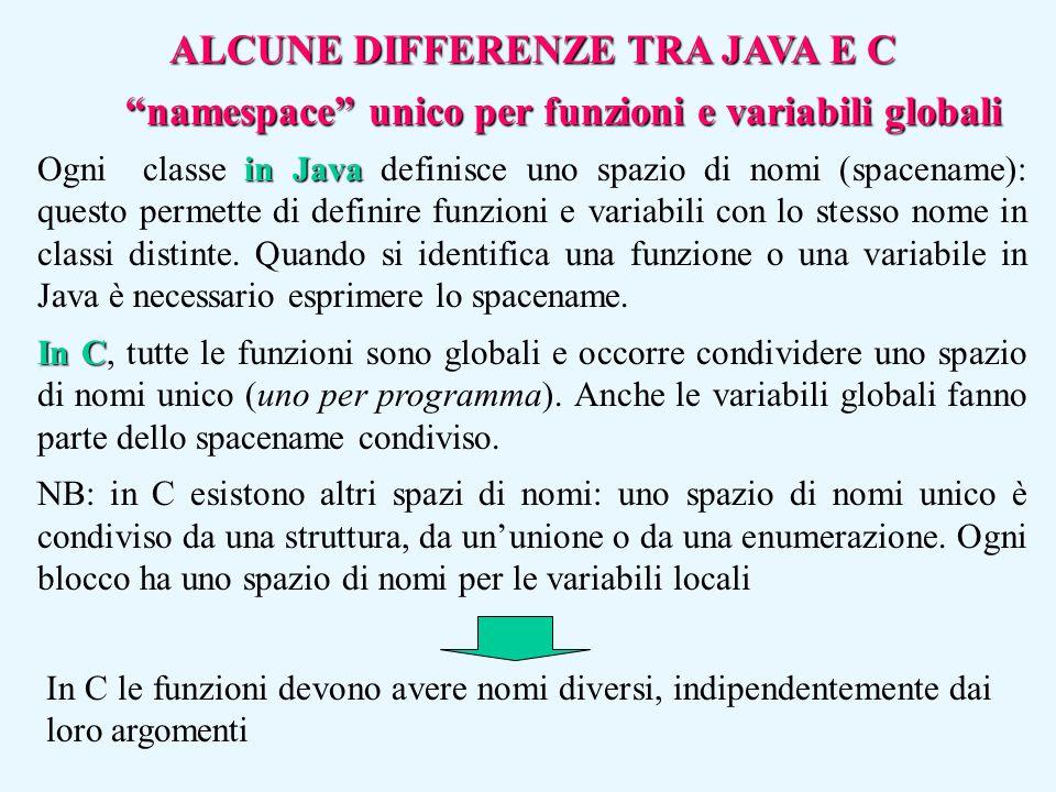 """""""namespace"""" unico per funzioni e variabili globali in Java Ogni classe in Java definisce uno spazio di nomi (spacename): questo permette di definire f"""