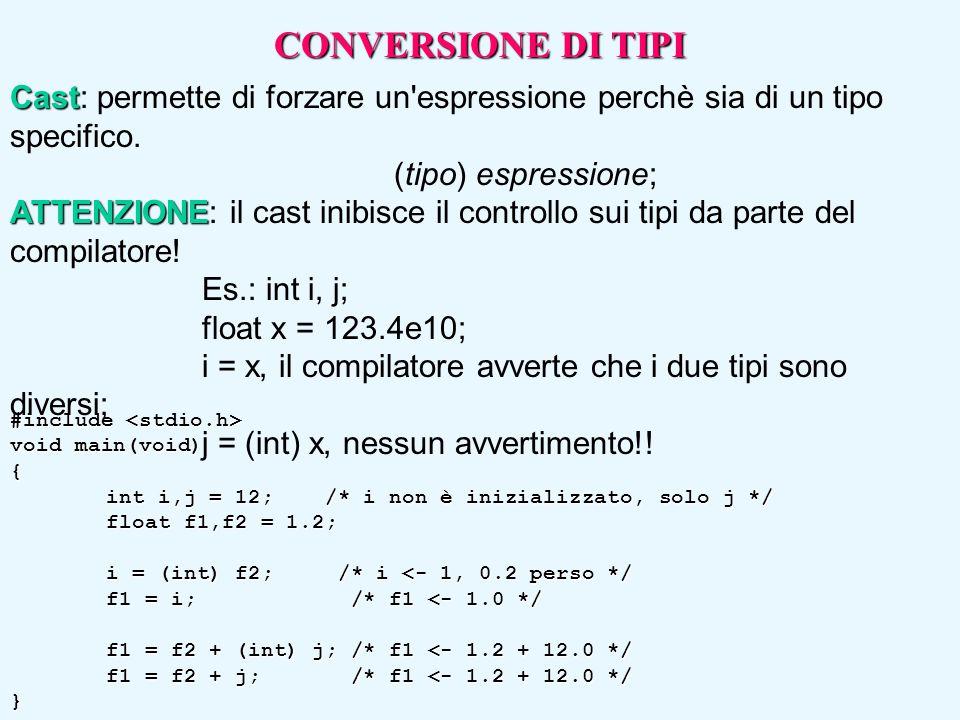 #include #include void main(void) { int i,j = 12; /* i non è inizializzato, solo j */ float f1,f2 = 1.2; i = (int) f2; /* i <- 1, 0.2 perso */ f1 = i;