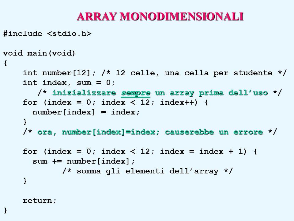 #include void main(void) { int number[12]; /* 12 celle, una cella per studente */ int index, sum = 0; inizializzare sempre un array prima dell'uso /*