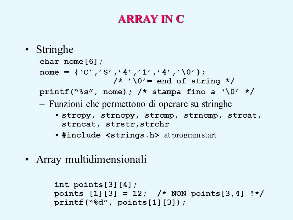 """Stringhe char nome[6]; nome = {'C','S','4','1','4','\0'}; /* '\0'= end of string */ printf(""""%s"""", nome); /* stampa fino a '\0' */ –Funzioni che permett"""