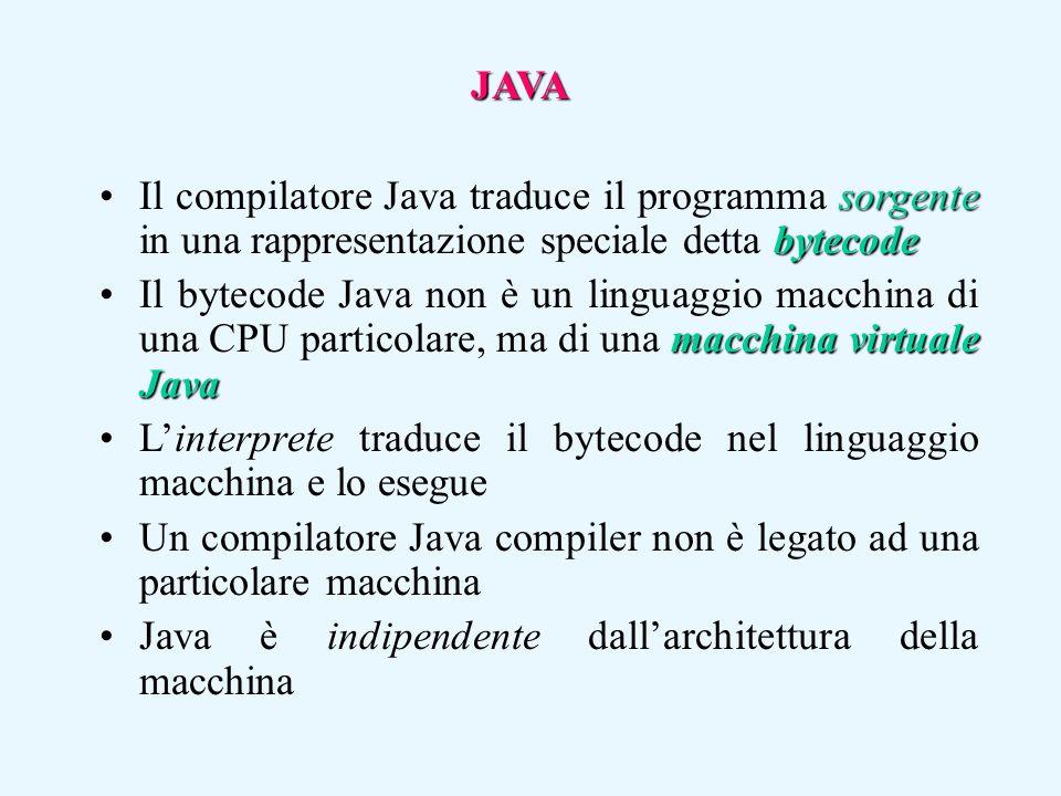 JAVA sorgente bytecodeIl compilatore Java traduce il programma sorgente in una rappresentazione speciale detta bytecode macchina virtuale JavaIl bytec