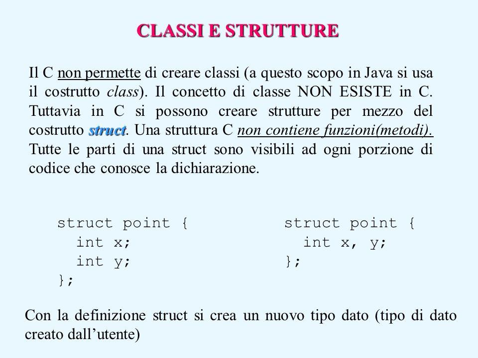 struct Il C non permette di creare classi (a questo scopo in Java si usa il costrutto class). Il concetto di classe NON ESISTE in C. Tuttavia in C si