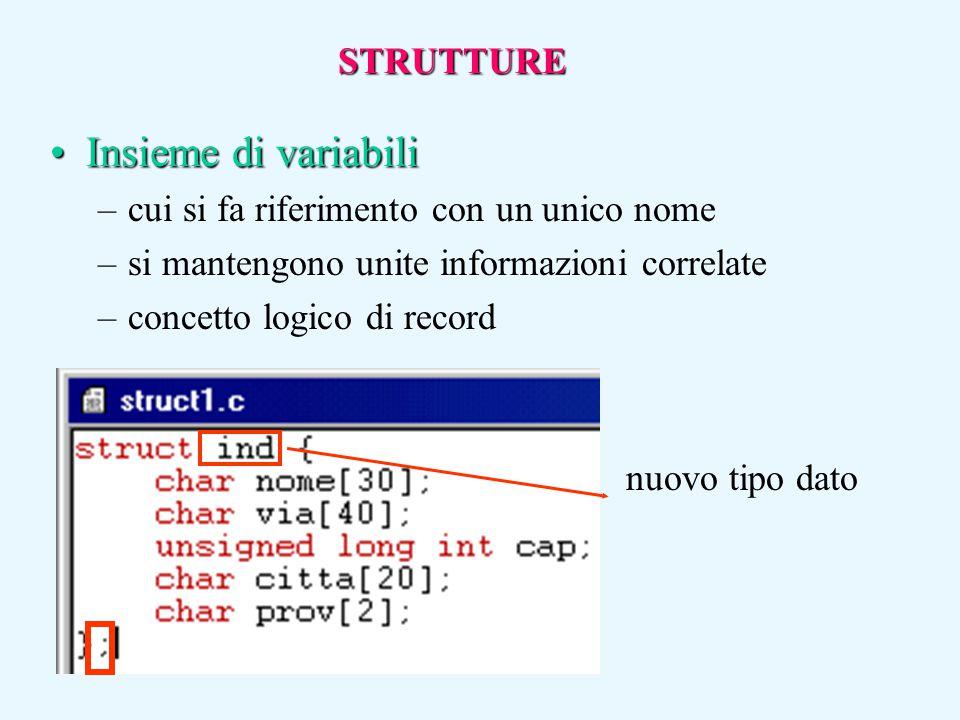Insieme di variabiliInsieme di variabili –cui si fa riferimento con un unico nome –si mantengono unite informazioni correlate –concetto logico di reco