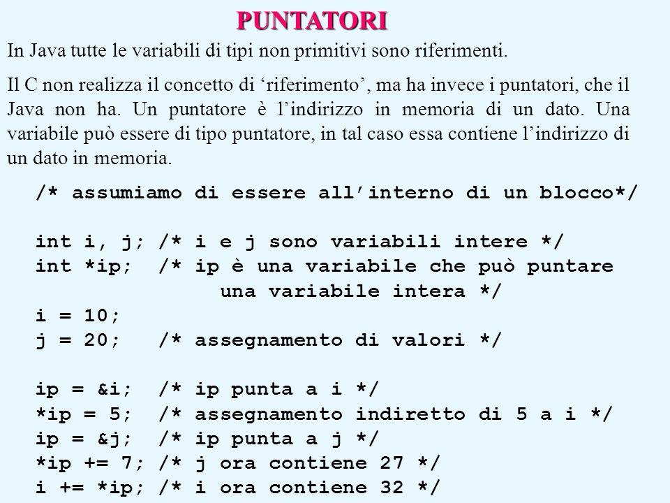 PUNTATORI In Java tutte le variabili di tipi non primitivi sono riferimenti. Il C non realizza il concetto di 'riferimento', ma ha invece i puntatori,