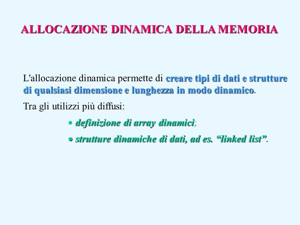 ALLOCAZIONE DINAMICA DELLA MEMORIA creare tipi di dati e strutture di qualsiasi dimensione e lunghezza in modo dinamico L'allocazione dinamica permett