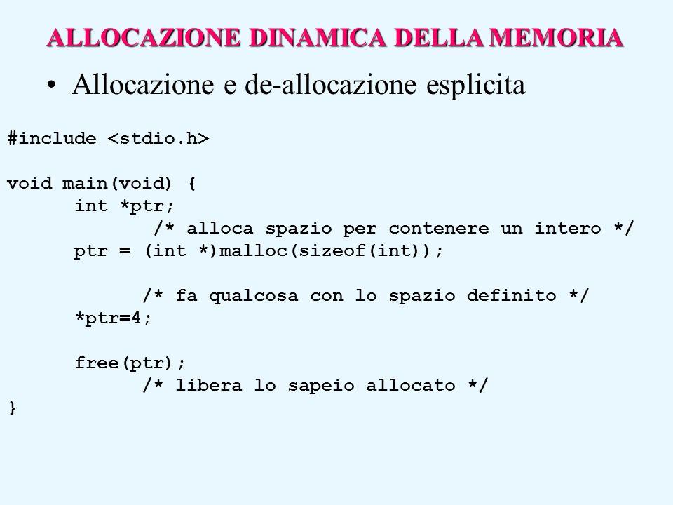 #include void main(void) { int *ptr; /* alloca spazio per contenere un intero */ ptr = (int *)malloc(sizeof(int)); /* fa qualcosa con lo spazio defini