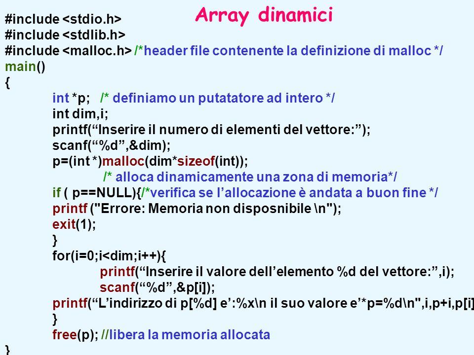 """#include #include /*header file contenente la definizione di malloc */ main() { int *p; /* definiamo un putatatore ad intero */ int dim,i; printf(""""Ins"""