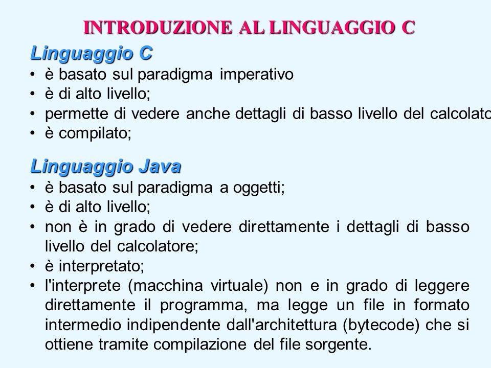 Linguaggio C è basato sul paradigma imperativo è di alto livello; permette di vedere anche dettagli di basso livello del calcolatore; è compilato; Lin