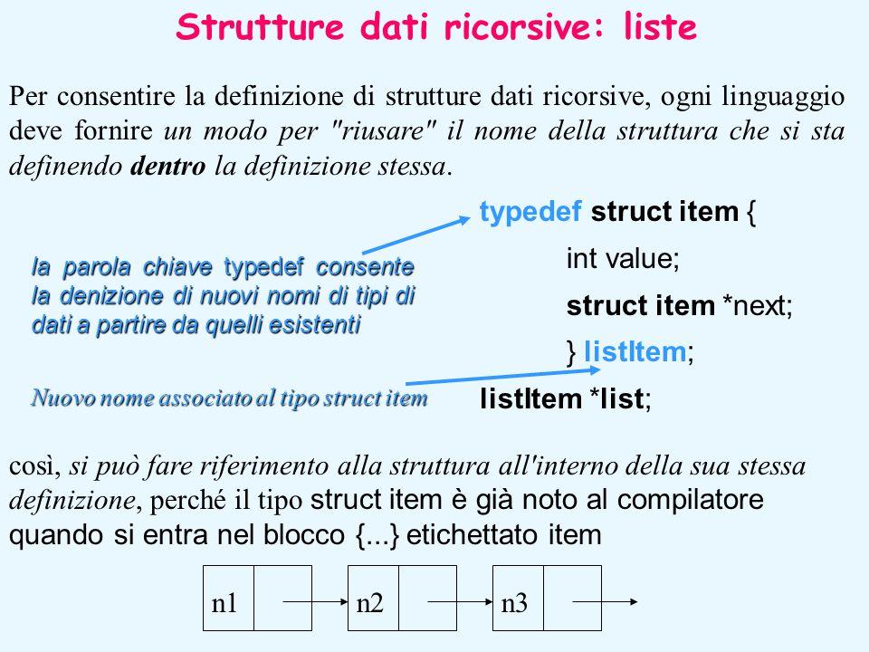 Per consentire la definizione di strutture dati ricorsive, ogni linguaggio deve fornire un modo per
