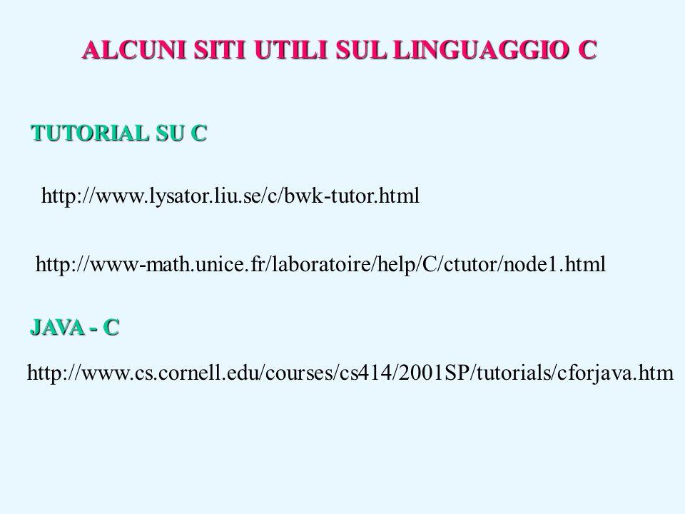 ALCUNI SITI UTILI SUL LINGUAGGIO C http://www.lysator.liu.se/c/bwk-tutor.html http://www-math.unice.fr/laboratoire/help/C/ctutor/node1.html http://www