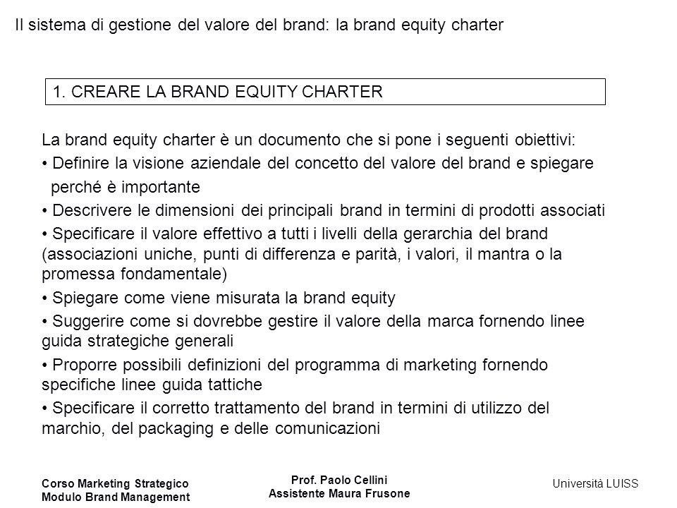 Corso Marketing Strategico Modulo Brand Management Prof. Paolo Cellini Assistente Maura Frusone Università LUISS Il sistema di gestione del valore del