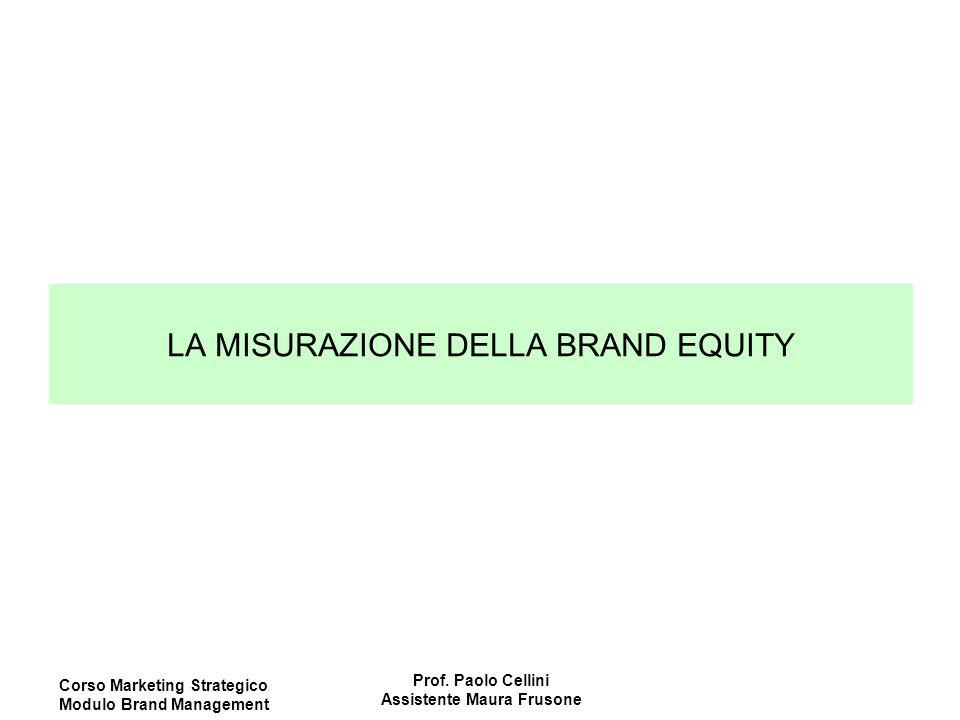 Corso Marketing Strategico Modulo Brand Management Prof. Paolo Cellini Assistente Maura Frusone LA MISURAZIONE DELLA BRAND EQUITY