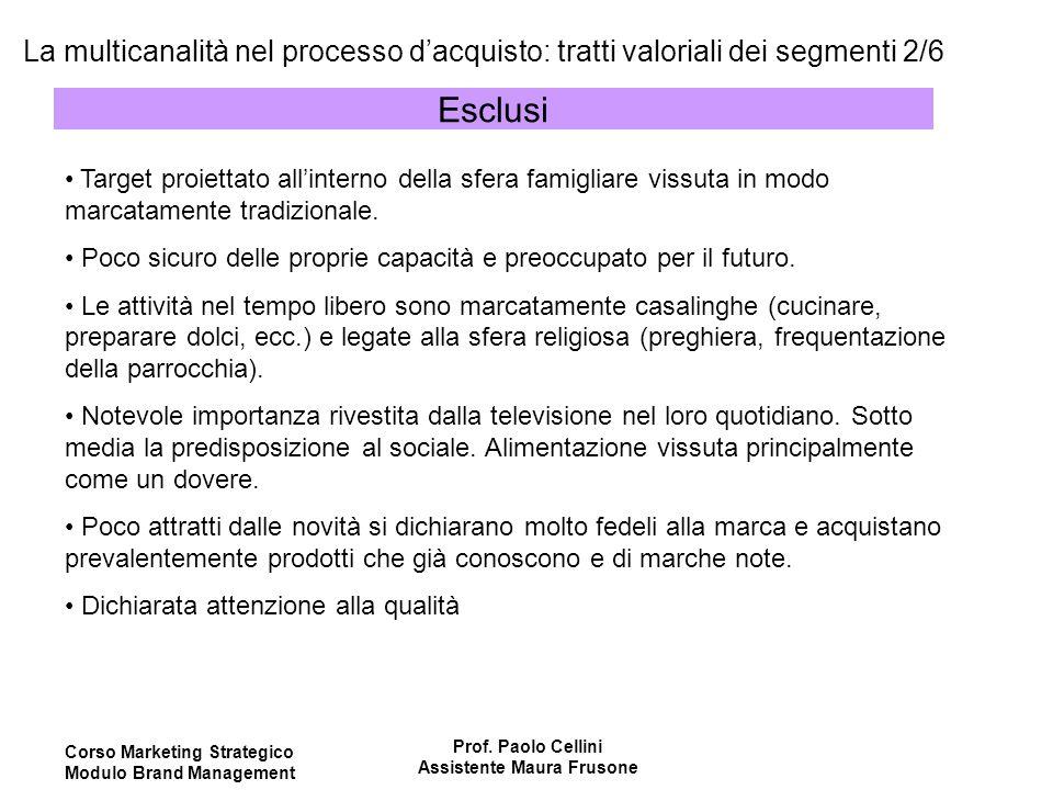 Corso Marketing Strategico Modulo Brand Management Prof. Paolo Cellini Assistente Maura Frusone La multicanalità nel processo d'acquisto: tratti valor