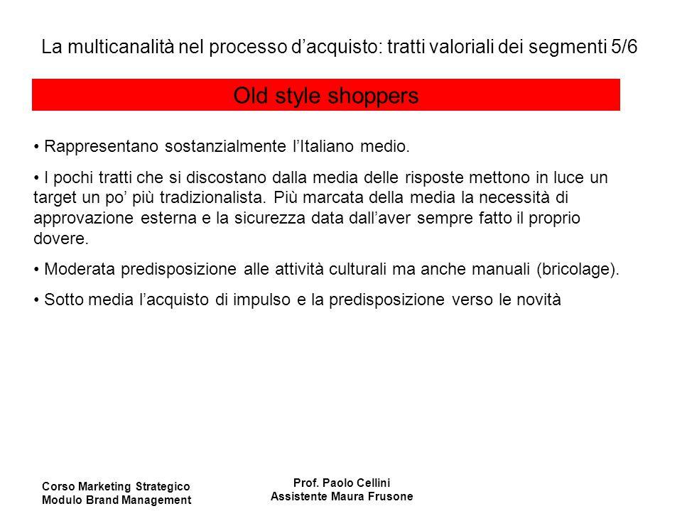 Corso Marketing Strategico Modulo Brand Management Prof. Paolo Cellini Assistente Maura Frusone Old style shoppers Rappresentano sostanzialmente l'Ita