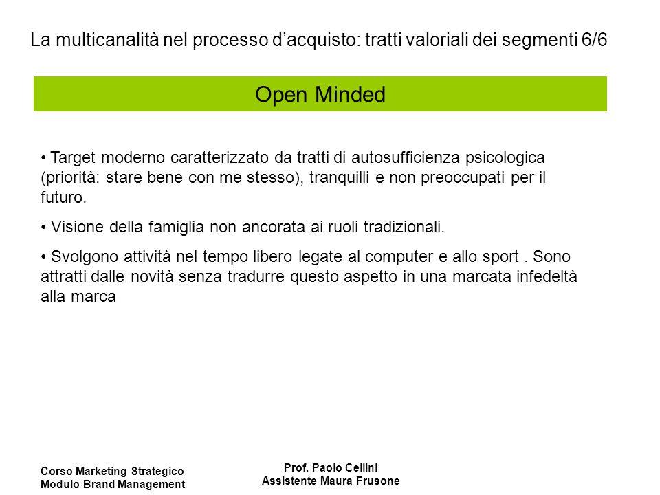 Corso Marketing Strategico Modulo Brand Management Prof. Paolo Cellini Assistente Maura Frusone Open Minded Target moderno caratterizzato da tratti di