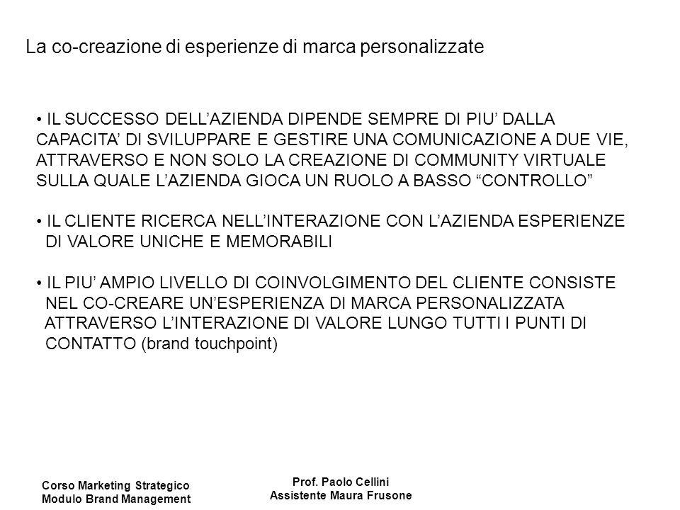 Corso Marketing Strategico Modulo Brand Management Prof. Paolo Cellini Assistente Maura Frusone La co-creazione di esperienze di marca personalizzate