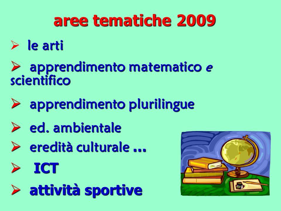 aree tematiche 2009 le arti  le arti  apprendimento matematico e scientifico  apprendimento plurilingue  ed.