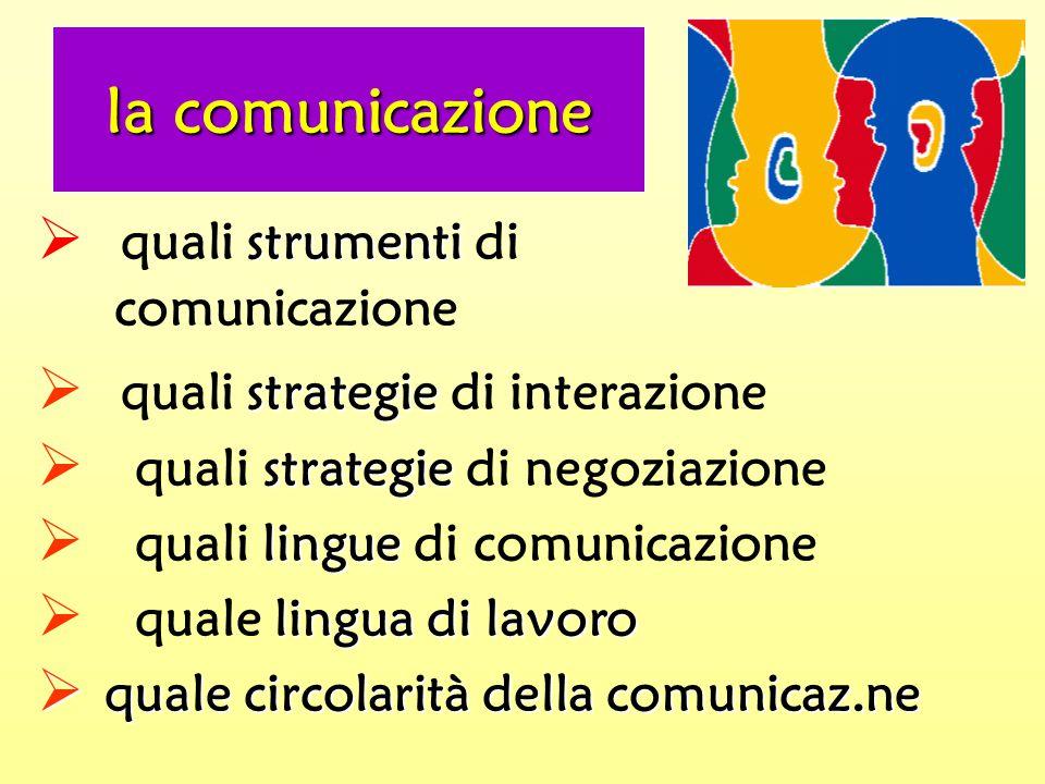 strumenti  quali strumenti di comunicazione strategie  quali strategie di interazione strategie  quali strategie di negoziazione lingue  quali lingue di comunicazione lingua di lavoro  quale lingua di lavoro  quale circolarità della comunicaz.ne la comunicazione