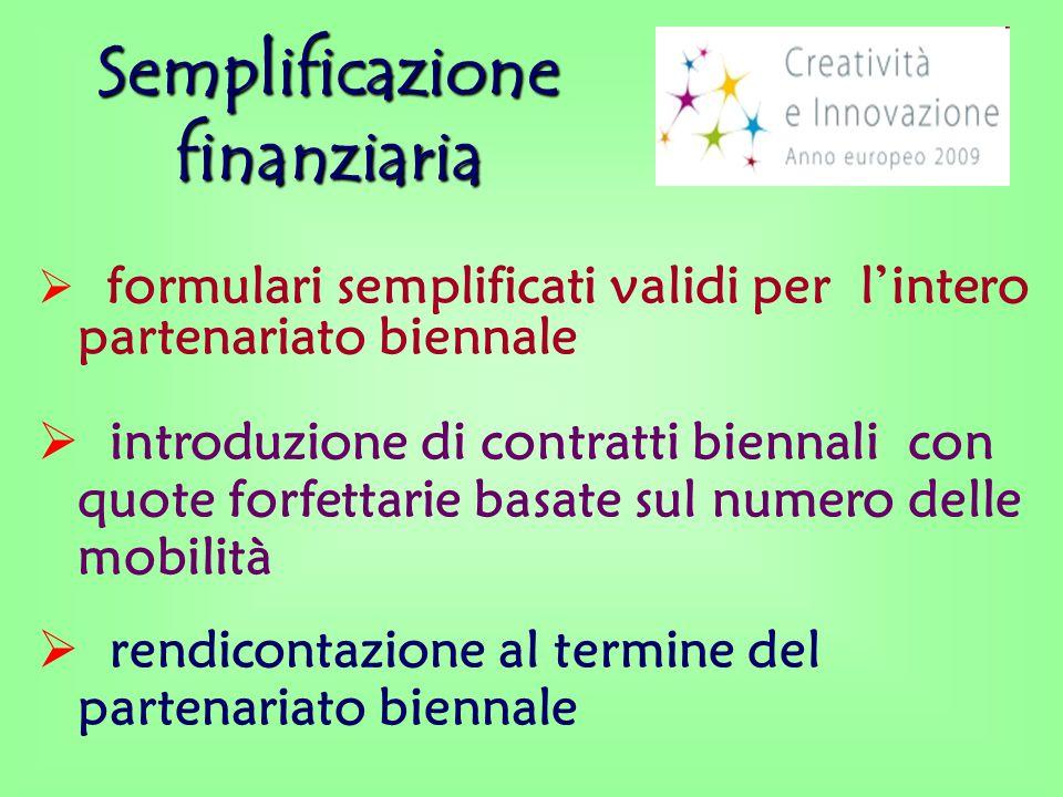 Semplificazione finanziaria  formulari semplificati validi per l'intero partenariato biennale  introduzione di contratti biennali con quote forfettarie basate sul numero delle mobilità  rendicontazione al termine del partenariato biennale