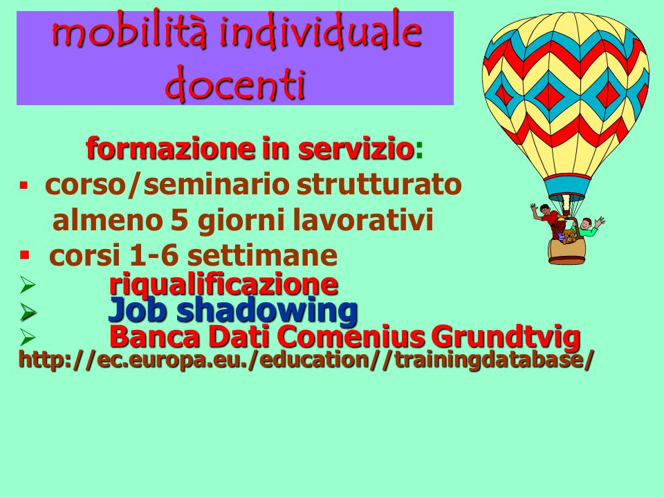 mobilità individuale docenti formazione in servizio formazione in servizio:  corso/seminario strutturato almeno 5 giorni lavorativi  corsi 1-6 settimane riqualificazione  riqualificazione  Job shadowing Banca Dati Comenius Grundtvig http://ec.europa.eu./education//trainingdatabase/  Banca Dati Comenius Grundtvig http://ec.europa.eu./education//trainingdatabase/