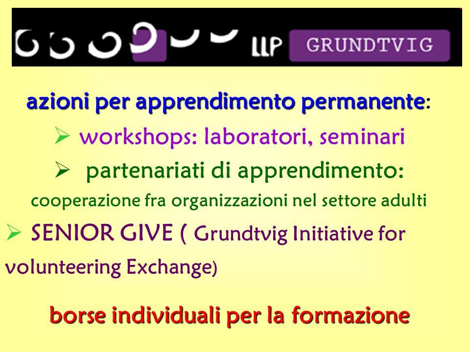 azioni per apprendimento permanente:  workshops: laboratori, seminari  partenariati di apprendimento: cooperazione fra organizzazioni nel settore adulti  SENIOR GIVE ( Grundtvig Initiative for volunteering Exchange ) borse individuali per la formazione