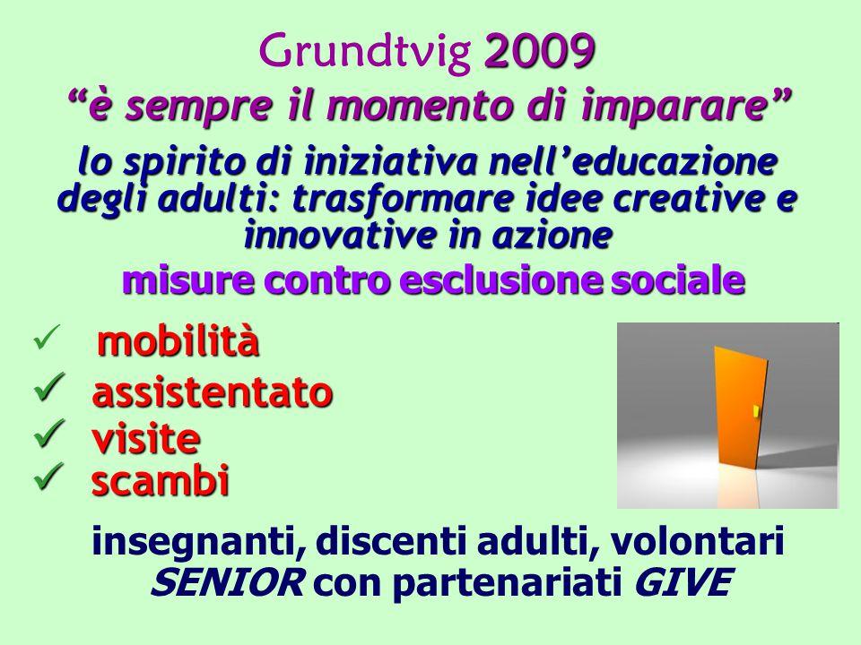 2009 Grundtvig 2009 è sempre il momento di imparare lo spirito di iniziativa nell'educazione degli adulti: trasformare idee creative e innovative in azione misure contro esclusione sociale mobilità assistentato assistentato visite visite scambi scambi insegnanti, discenti adulti, volontari SENIOR con partenariati GIVE