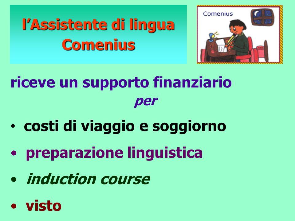 riceve un supporto finanziario per costi di viaggio e soggiorno preparazione linguistica induction course visto l'Assistente di lingua Comenius