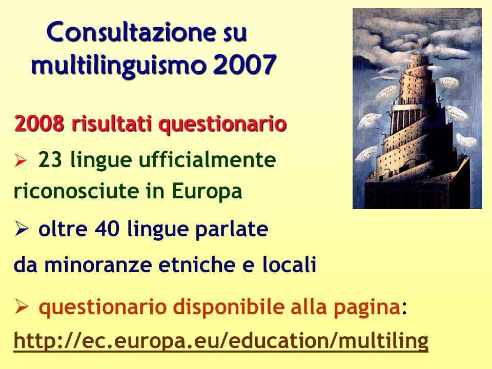Consultazione su multilinguismo 2007 2008 risultati questionario Ø 23 lingue ufficialmente riconosciute in Europa Ø oltre 40 lingue parlate da minoranze etniche e locali Ø questionario disponibile alla pagina: http://ec.europa.eu/education/multiling