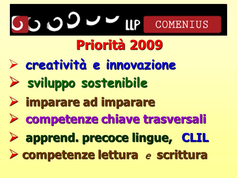 Priorità 2009 creatività e innovazione  creatività e innovazione  sviluppo sostenibile  imparare ad imparare  competenze chiave trasversali  apprend.