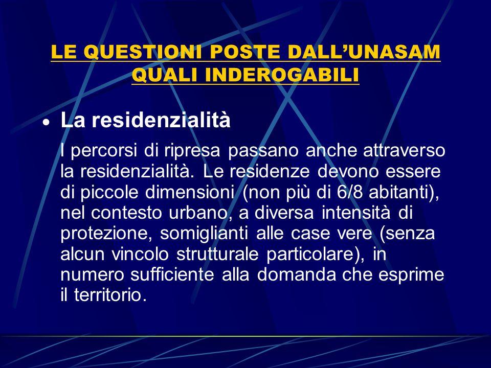 LE QUESTIONI POSTE DALL'UNASAM QUALI INDEROGABILI  La residenzialità I percorsi di ripresa passano anche attraverso la residenzialità. Le residenze d