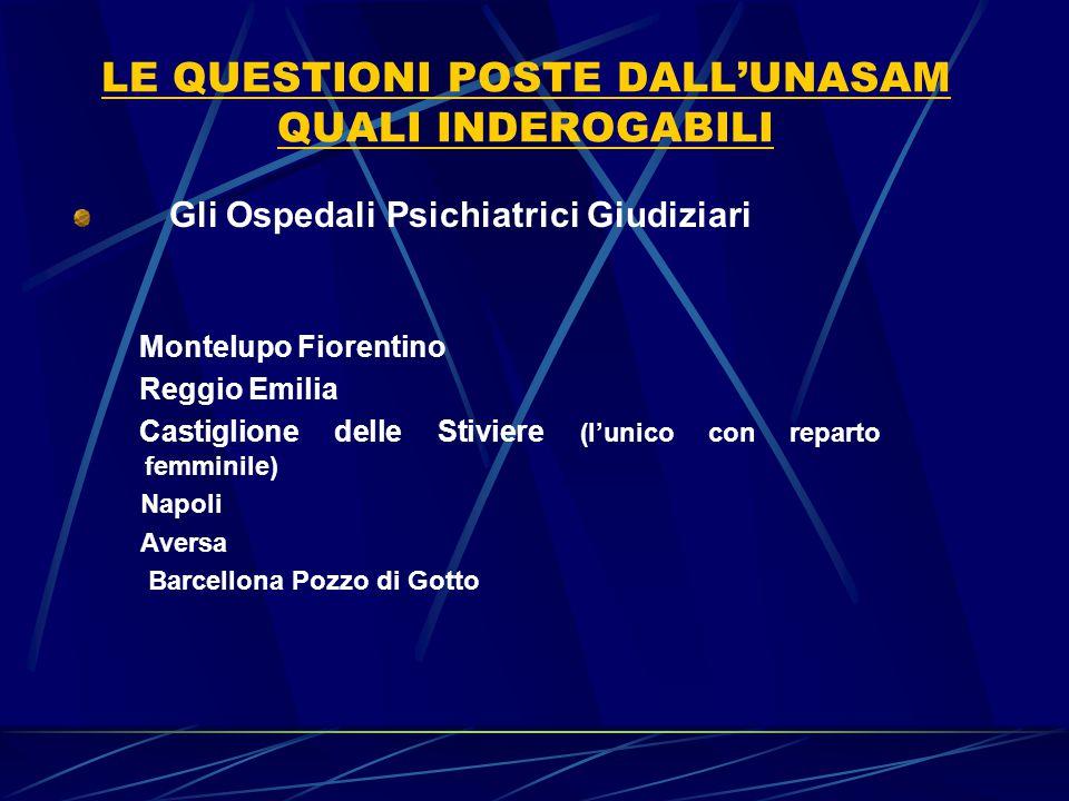 LE QUESTIONI POSTE DALL'UNASAM QUALI INDEROGABILI Gli Ospedali Psichiatrici Giudiziari Montelupo Fiorentino Reggio Emilia Castiglione delle Stiviere (