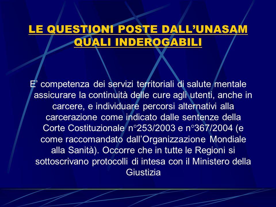 LE QUESTIONI POSTE DALL'UNASAM QUALI INDEROGABILI E' competenza dei servizi territoriali di salute mentale assicurare la continuità delle cure agli ut