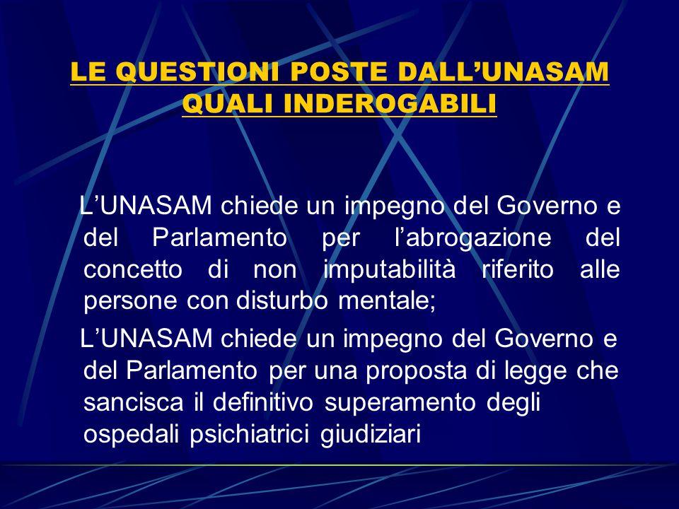 LE QUESTIONI POSTE DALL'UNASAM QUALI INDEROGABILI L'UNASAM chiede un impegno del Governo e del Parlamento per l'abrogazione del concetto di non imputa