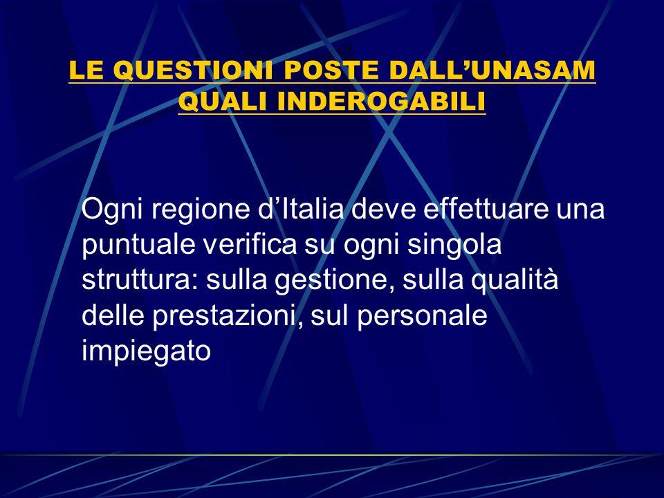 LE QUESTIONI POSTE DALL'UNASAM QUALI INDEROGABILI Ogni regione d'Italia deve effettuare una puntuale verifica su ogni singola struttura: sulla gestion