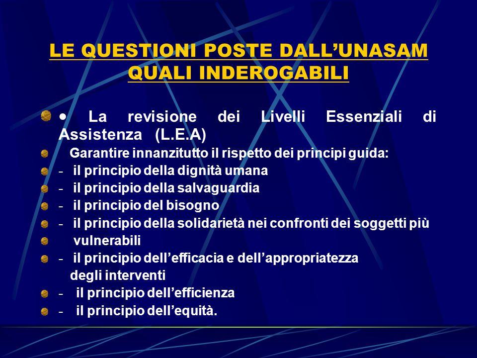 LE QUESTIONI POSTE DALL'UNASAM QUALI INDEROGABILI  La revisione dei Livelli Essenziali di Assistenza (L.E.A) Garantire innanzitutto il rispetto dei