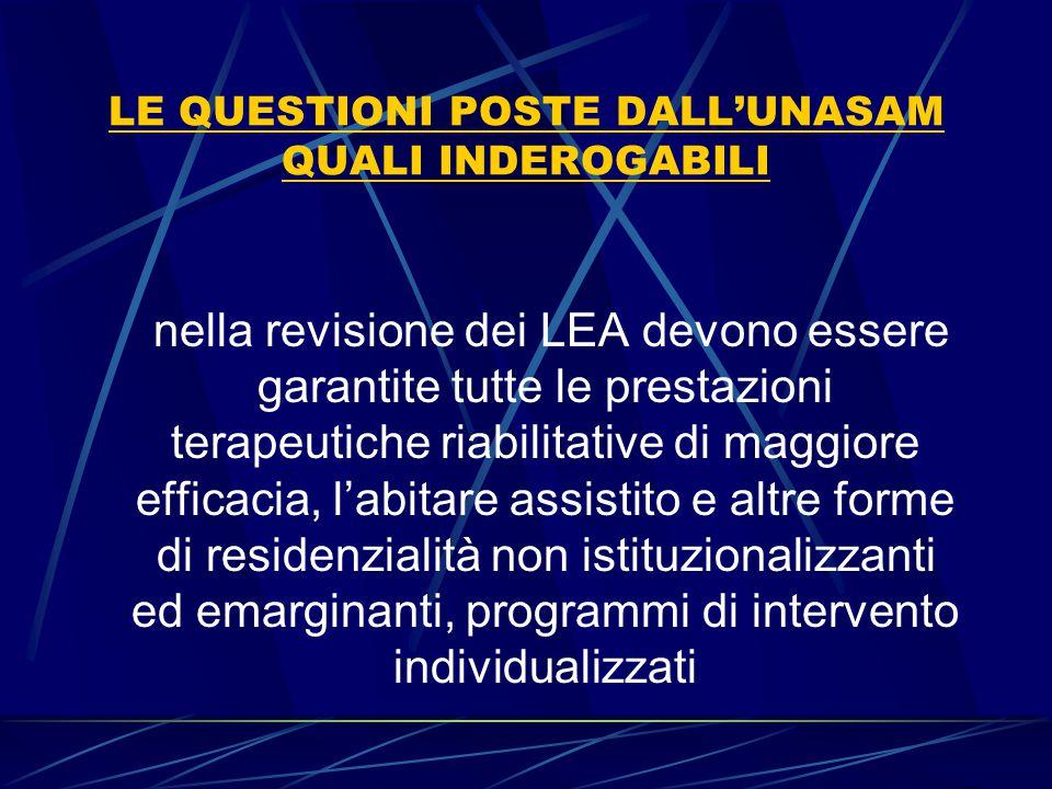LE QUESTIONI POSTE DALL'UNASAM QUALI INDEROGABILI nella revisione dei LEA devono essere garantite tutte le prestazioni terapeutiche riabilitative di m