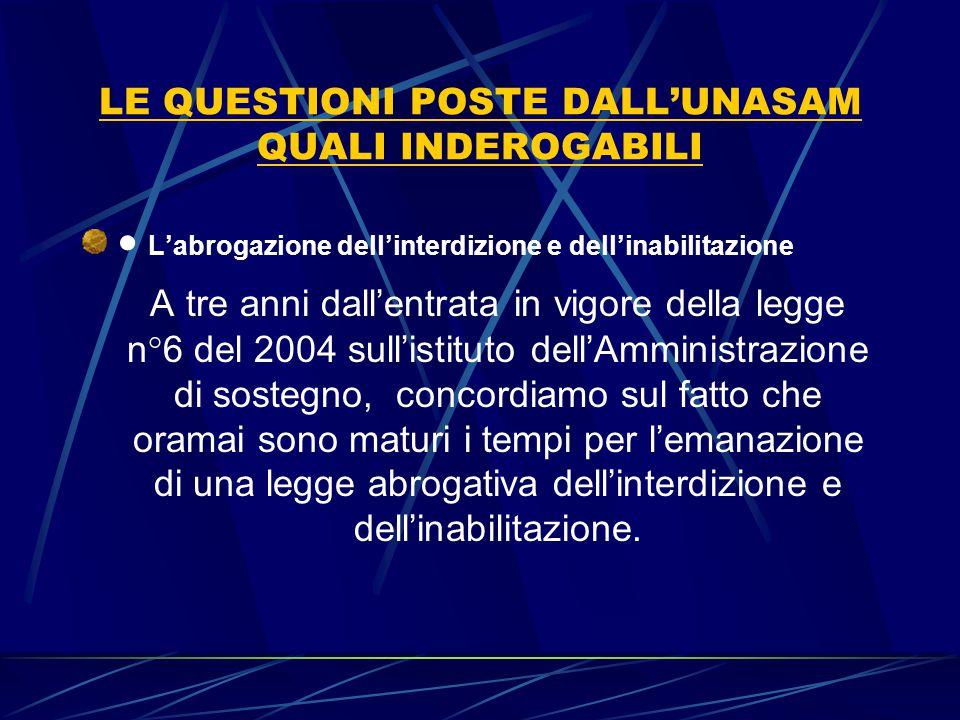 LE QUESTIONI POSTE DALL'UNASAM QUALI INDEROGABILI  L'abrogazione dell'interdizione e dell'inabilitazione A tre anni dall'entrata in vigore della leg