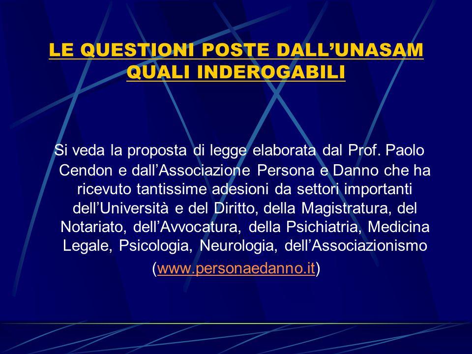 LE QUESTIONI POSTE DALL'UNASAM QUALI INDEROGABILI Si veda la proposta di legge elaborata dal Prof. Paolo Cendon e dall'Associazione Persona e Danno ch
